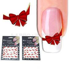 2 feuilles 3D noeud papillon rouge Nail Art autocollants de décoration bricolage