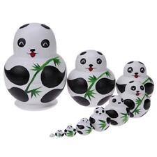 10pcs/Set Basswood Panda Nesting Dolls Handmade Matryoshka Dolls Wood Toys Gifts