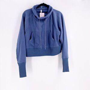 Free People Cropped Sweatshirt Westlake Sweat Blue Size XS Free People Movement