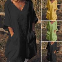 ZANZEA Womens Oversized Casual Solid Loose T-Shirt Dress Tunic Tops Blouse Plus
