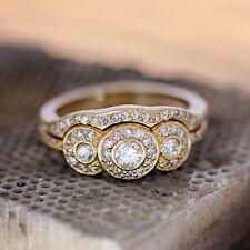 Solid 14K Yellow Gold 1.50 Ct Diamond Three Stone Engagement Ring Bridal Set