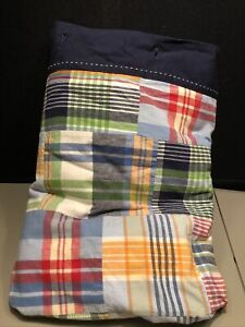 Pottery Barn Kids Madras Plaid Patchwork Lined Cotton Shower Curtain Blues PBK