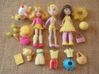 "Polly Pocket ""Colors of the Rainbow"" Yellow Lot Big Feet Dolls Modern Pet 5-75"