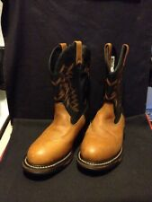 Rocky 4402 Brown Leather Waterproof Round Toe Western Boots Women's Size US 10