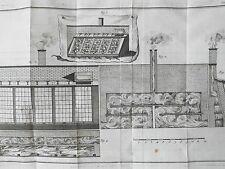 Plan serre eau chaude Gravure originale les Agréments de la Campagne XVIIIéme