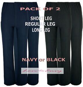 Ladies Nurse Work Health Care 2 PAIR PACK STRETCH Elasticated Bootleg Trousers