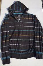 BILLABONG GRAY HOODIE JACKET LIGHTWEIGHT STRIPED ZIP COAT COTTON EXTRA LARGE XL
