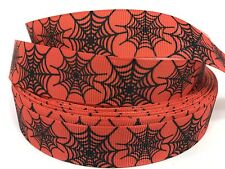 "BTY 7/8"" Orange Spider Web Halloween Grosgrain Ribbon Scrapbooking Lisa"