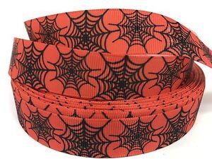 """Sale! 5 Yards 7/8"""" Printed Orange Spider Web Halloween Holiday Grosgrain  Lisa"""