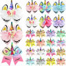 JOJO SIWA Unicorn Hair Bow With Alligator Clips Girls Kids Hair Bowknot Hairpins