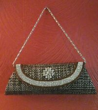 "EVENING BAG Gold/Brown Tweed w/Rhinestones 6""drop Silver Chain NEW"