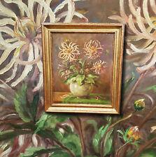 Natura morta fiori Raggi dalie. Originale vecchio Dipinti a olio,firmato Munich