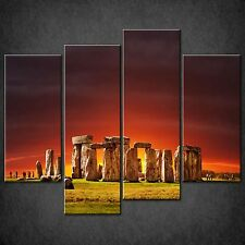 SUNSET OVER STONEHENGE CASCADE CANVAS WALL ART PRINT PICTURE READY TO HANG