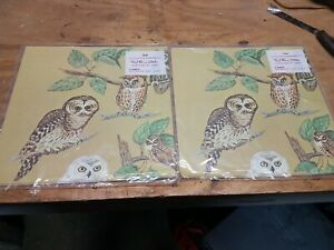 2Pkgs VINTAGE Red Farm Studio OWLS  WRAPPING PAPER Pawtucket  SEALED 2 Sheets ea