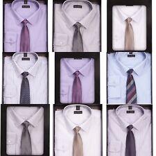 Pierre Roche Mens Single Cuff Formal Shirt & Tie Box Set Smart Office Work Gift