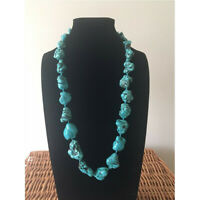 Natural Turquoise Gemstone Necklace 20inches Silver Buckle Diy Gemstone Chic