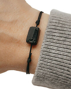 Black tourmaline adjustable cord bracelet energy shield protection men women