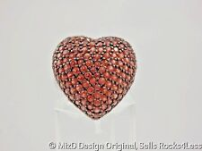 Big Pave Garnet Puffed Heart Statement Ring - Sterling - Sz 9.5