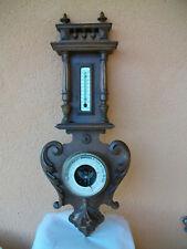 Barometre et thermometre ancien sur bois noyer