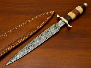 Rody Stan HAND FORGED DAMASCUS ART DAGGER KNIFE - BRASS GUARD - AD-6553