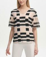 MSRP $60 Calvin Klein Printed Ruffle-Sleeve Top Size S