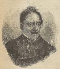 A3564 Ritratto di Gioacchino Belli - Incisione - Stampa Antica del 1891
