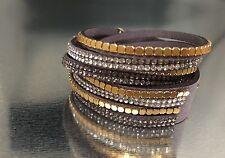 Slake Crystal Wrap Bracelet made w Swarovski Crystal & Gray Alcantara ® Leather