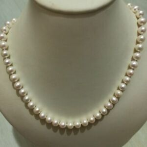 20 inch baroque 8-9mm South Sea White Pearl Necklace 14k Yellow Gold Filled