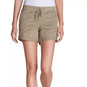 """Eddie Bauer 5"""" Kick Back Twill Beige/cloud  Women's Shorts Original $60 Size4"""