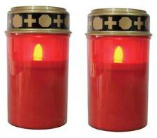 LED-Grablicht Ewiges Licht Grabkerze 2er Set mit Batterien, Flackereffekt NEU