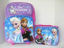 "Disney Frozen 16"" Large Rolling Backpack and Lunch Bag Snow 2pcs New!!"