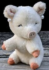Antique Schüco Mohair Sitting Pig w/Earrings Miniature Stuffed Animal 100% Orig.