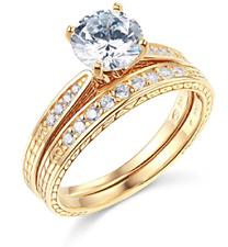 2.00 CT corte redondo conjunto anillo de compromiso de boda Real Oro Amarillo 14K banda que empareja