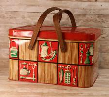 Tin Metal Picnic Basket Red Wood Watermelon Coffee Vintage - Free shipping