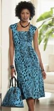 NEW WOMENS ASHRO TURQUOISE & BLACK SLEEVELESS ANIMAL PRINT DRESS PLUS SIZE 22W