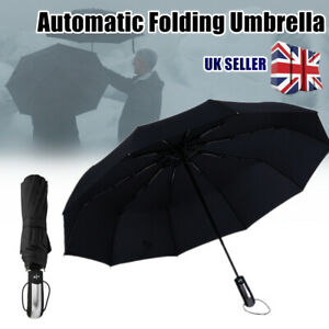 Automatic Folding Umbrella 10 Ribs Strong Windproof Wind Vented Canopy Black UK