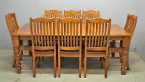 Large dining table with 8 chairs solid pine rubber wood delivery available
