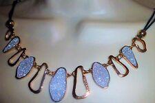 Gold sparkle Panel Leatherette Necklace Bib Jewellery Crystal Bling Lady B3G