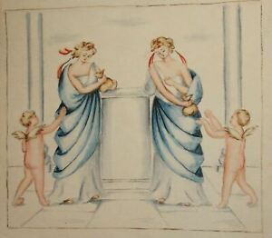 Antique watercolor painting portrait women with togas and cherubs angles signed