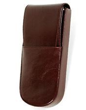 Aston American Cowhide Leather Hard-Sided Triple Pen Box, Brown