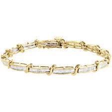 "10K Yellow Gold Baguette Diamond S Link Statement Link 5.25mm Bracelet 7"" | 1 CT"
