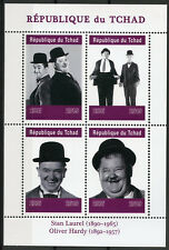 Chad 2019 MNH Stan Laurel & Oliver Hardy 4v M/S Actors Famous People Stamps