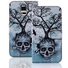 Skull Handy Tasche Samsung Galaxy S5 Sm-g900f Schutz hülle Cover Case Etui 009