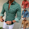 Men Striped Long Sleeve Casual Shirts Muscle Slim Fit T-shirt Fashion Blouse Top