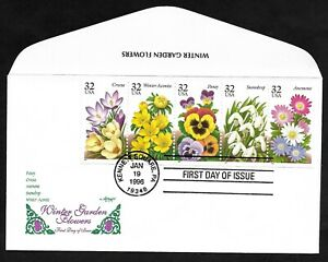 #3025-3029 (3029a) 32c -Winter Garden Flowers -Booklet Pane of 5- Artmaster FDC