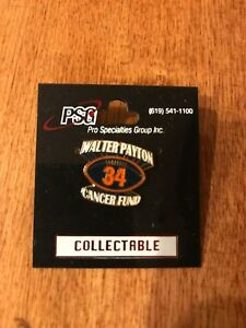 WALTER PAYTON COLLECTABLE CANCER FUND PIN CHICAGO BEARS  LOA BILLY PIERCE ESTATE