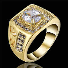 New Pure White Sapphire Gold Rhodium Plated Men Women Engagement Ring Gift Size9