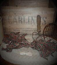 "50 Homespun Christmas Check~Fabric Strips~ 1"" x 18"" ~Crafts~Ties~Primitives~"