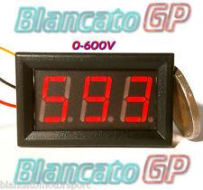 VOLTMETRO DIGITALE da 0 a 600V DC LED ROSSO da pannello alimentatore tester c.c.