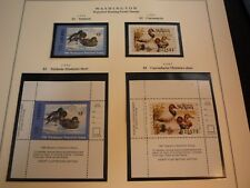 WASHINGTON STATE HUNTING PERMIT DUCK STAMPS 1986-1996 MNTED ON 7 PAGE 24 STAMPS